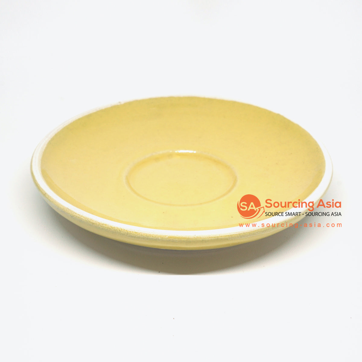 PNJ059 YELLOW AND WHITE EDGES HANDMADE CERAMIC SAUCER