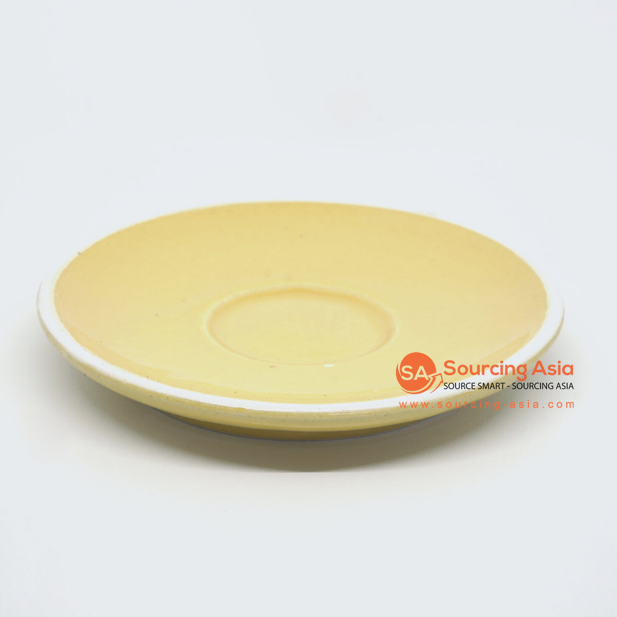 PNJ067 YELLOW AND WHITE EDGES HANDMADE CERAMIC SAUCER