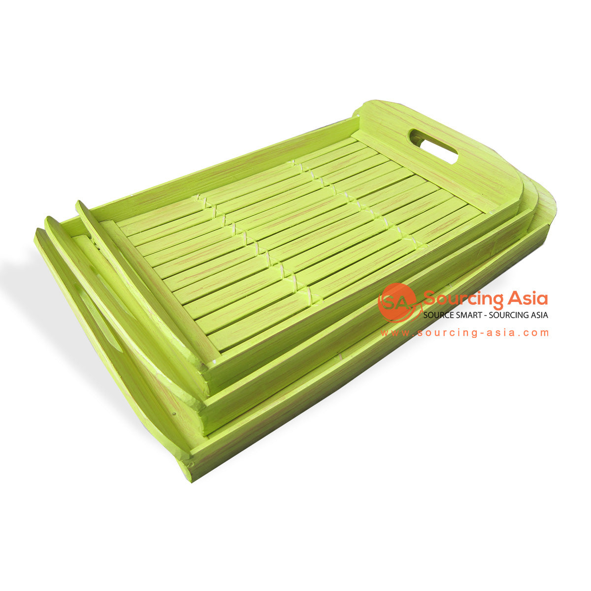 RATS023-3 SETS OF 3 BAMBOO TRAYS GREEN