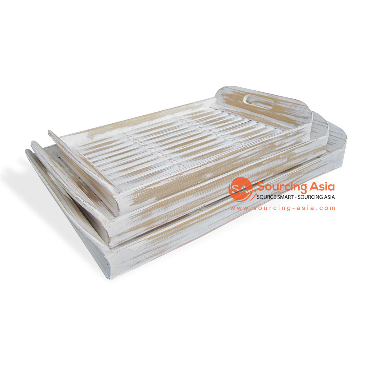 RATS023 SETS OF 3 BAMBOO TRAYS WHITE WASH
