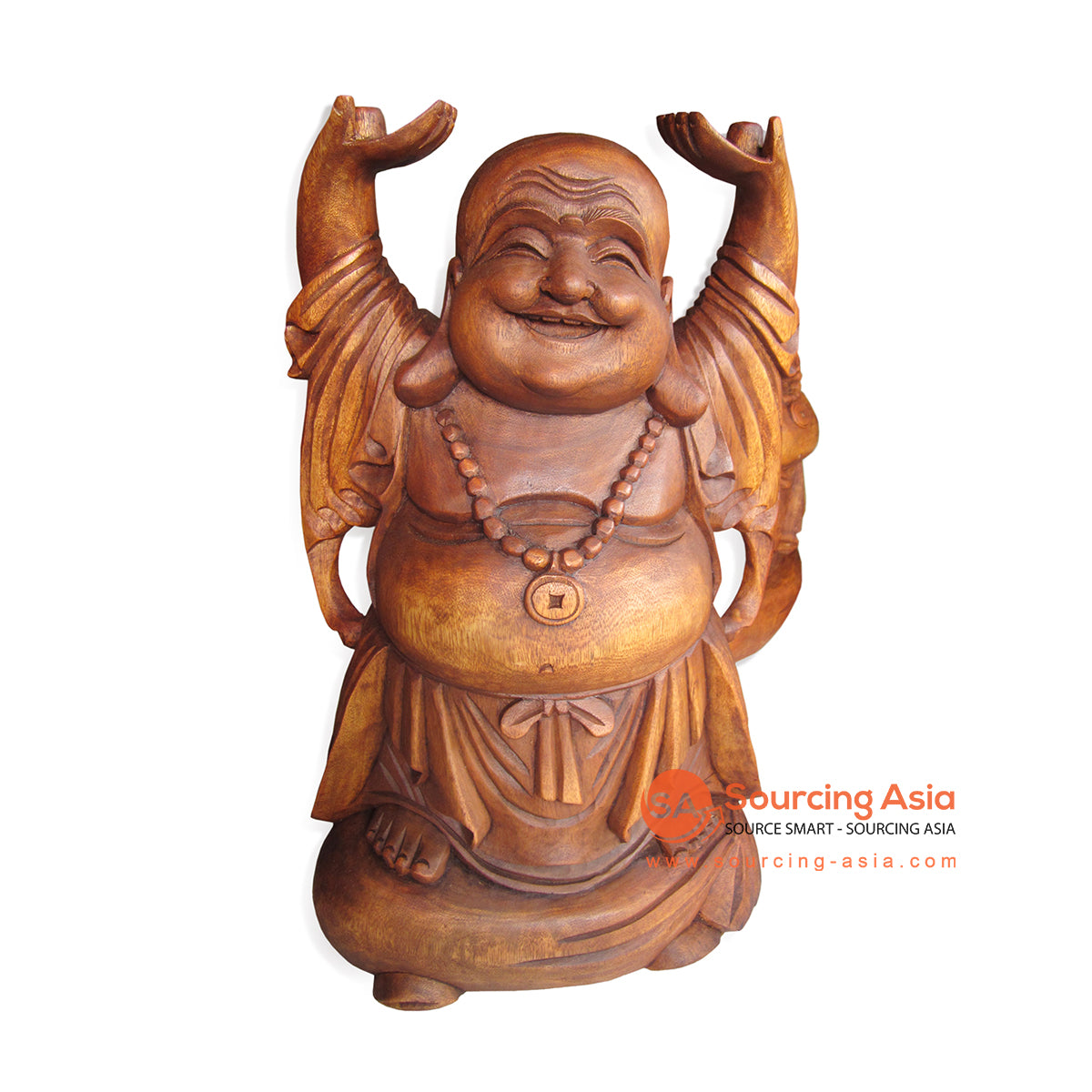 RGL008-50 WOODEN HAPPY BUDDHA STATUE