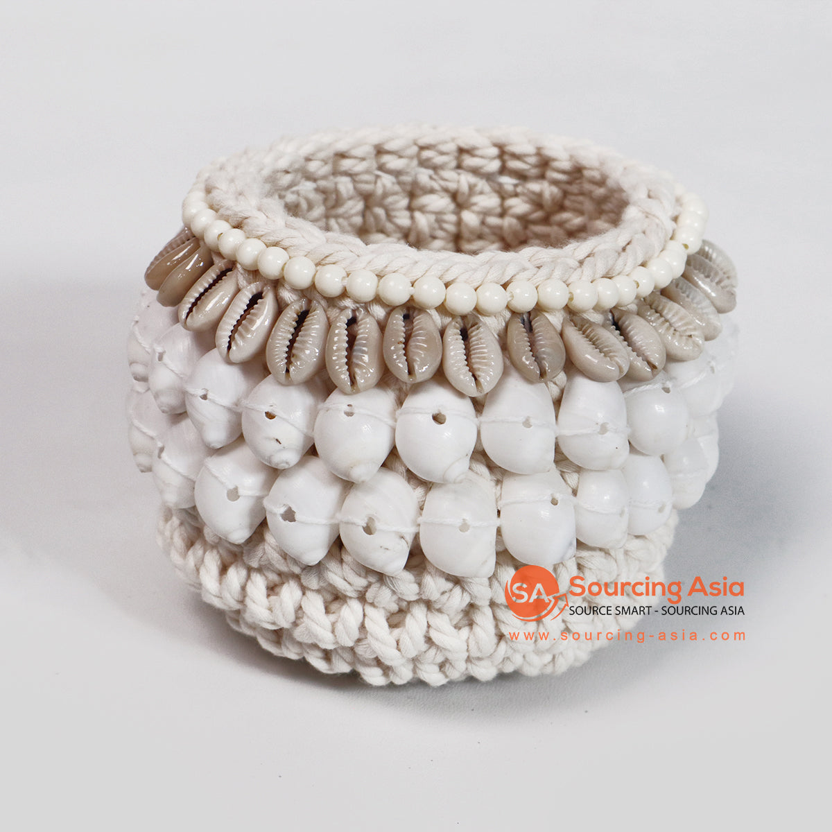 ROB014-2 MACRAME BASKET WITH SHELL