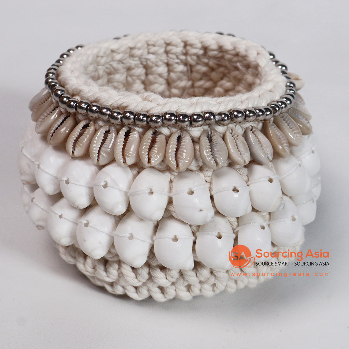 ROB014 MACRAME BASKET WITH SHELL