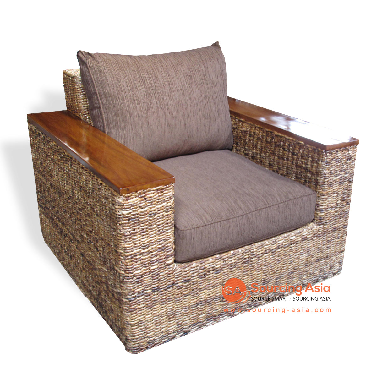 SF31-NAT SINGLE SEAT SOFA WITH WOODEN ARMS