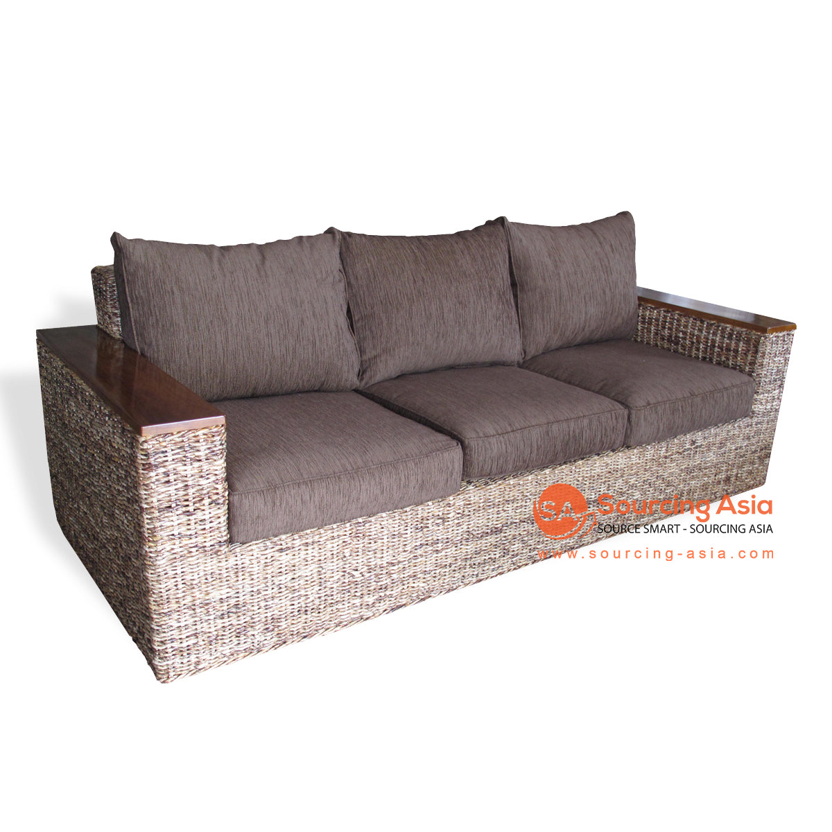 SF32-NAT 3 SEATS SOFA WITH WOODEN ARMS
