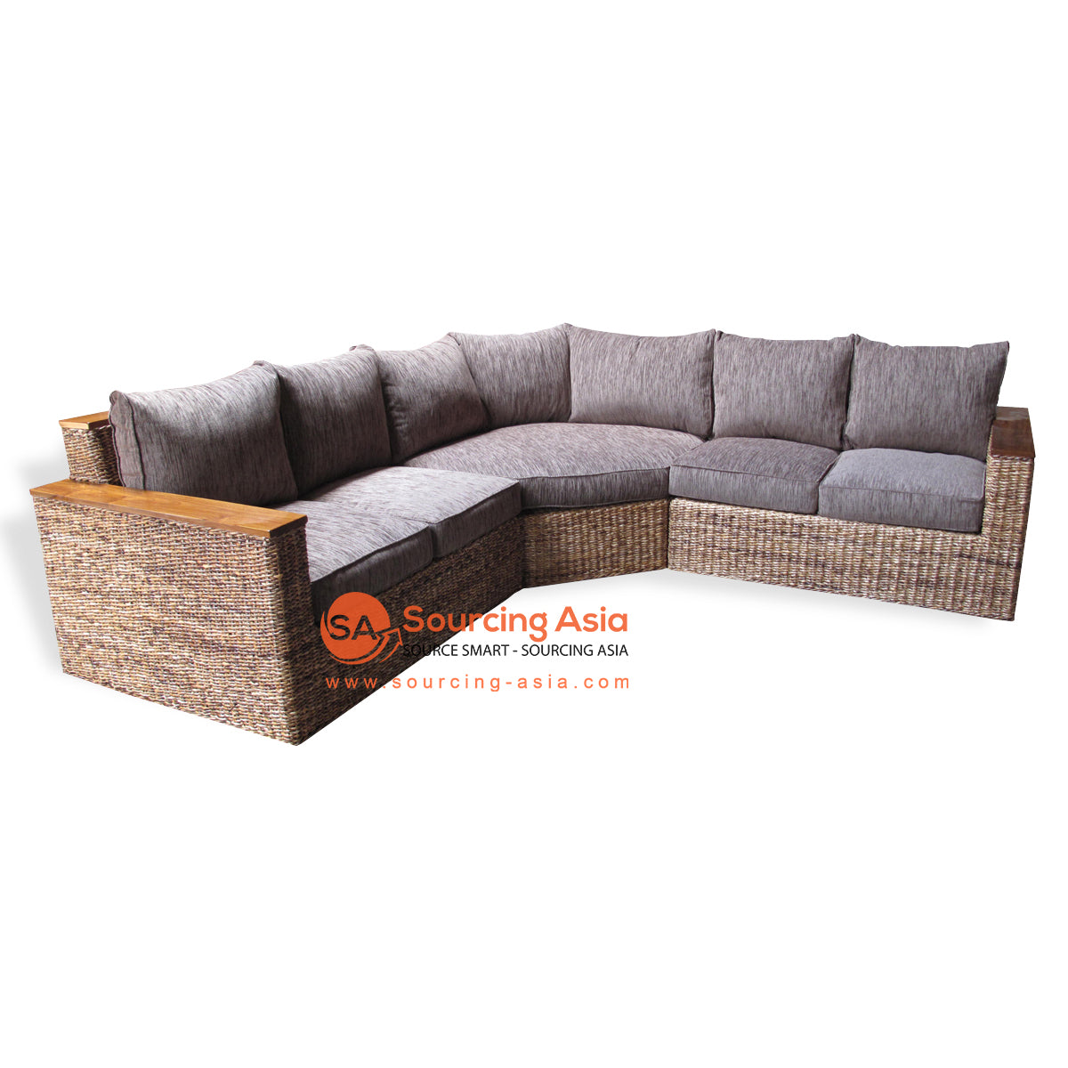 SF44-CNR-3 SEATS SOFA WITH WOODEN ARMS