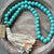 SHL047-1 TURQUOISE TIMBER BEADS DECORATIVE TASSEL WITH WHITE GARLAND