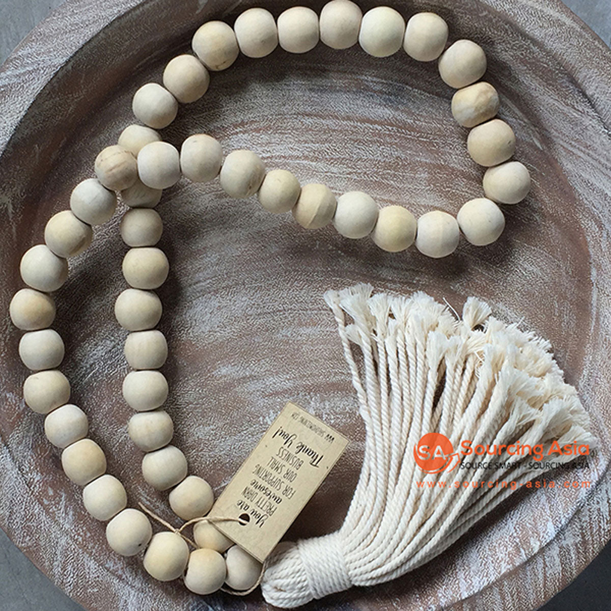 SHL047-2 NATURAL TIMBER BEADS DECORATIVE TASSEL WITH MACRAME YARN