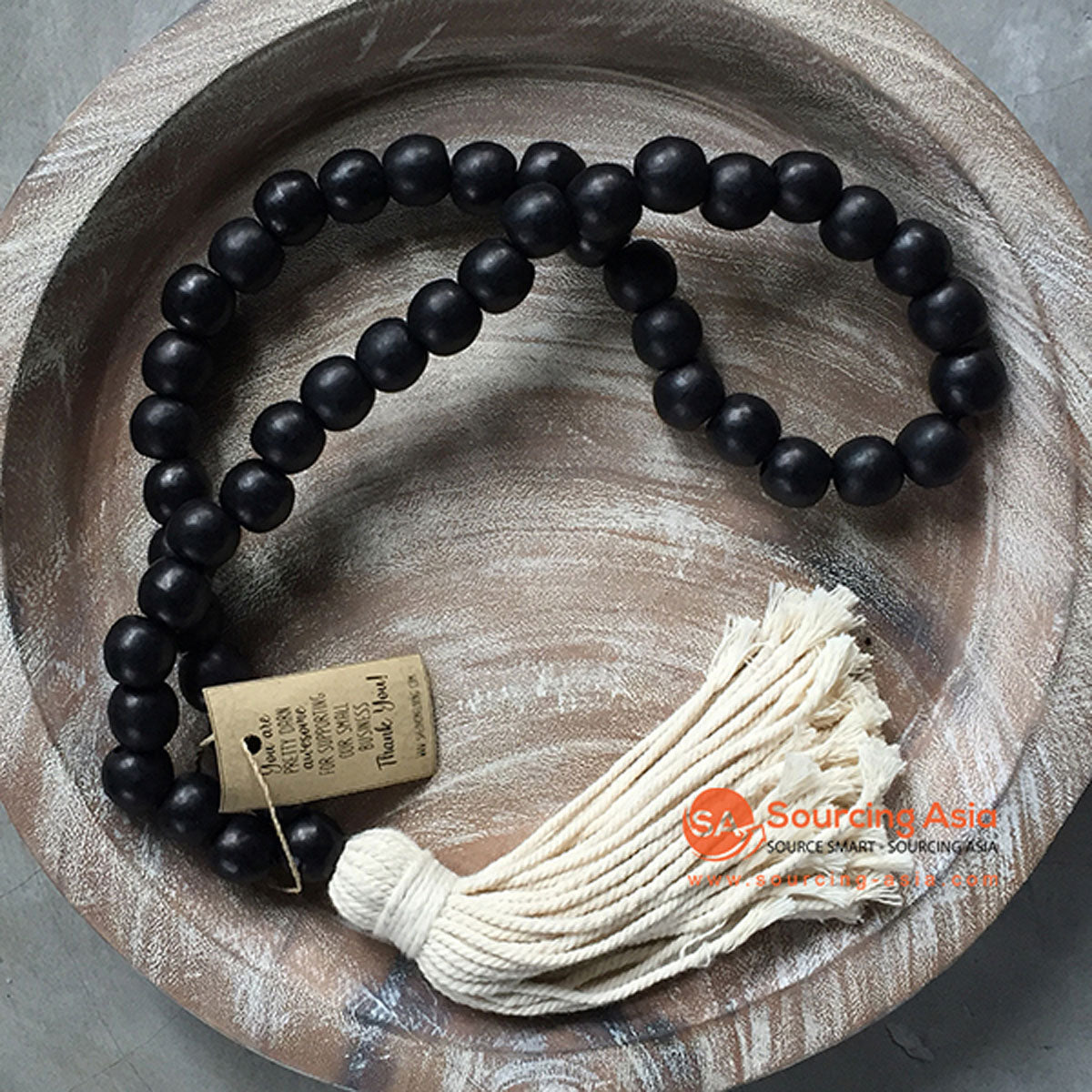 SHL047 BLACK TIMBER BEADS DECORATIVE TASSEL WITH WHITE GARLAND
