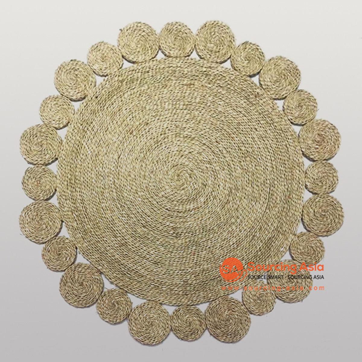 SHL048-2 NATURAL MENDONG DECORATIVE ROUND RUG