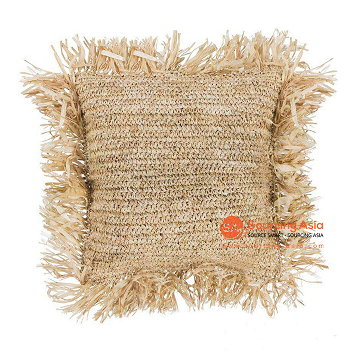 SHL049A NATURAL RAFFIA SQUARE COVER CUSHION WITH FRINGE