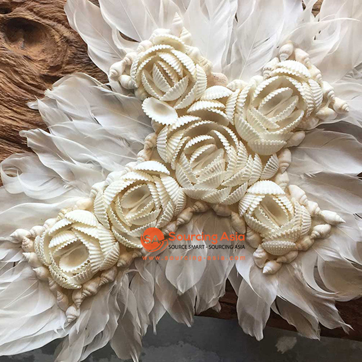 SHL056-3 WHITE FEATHER AND SHELL FLOWER STYLE CROSS DECORATION