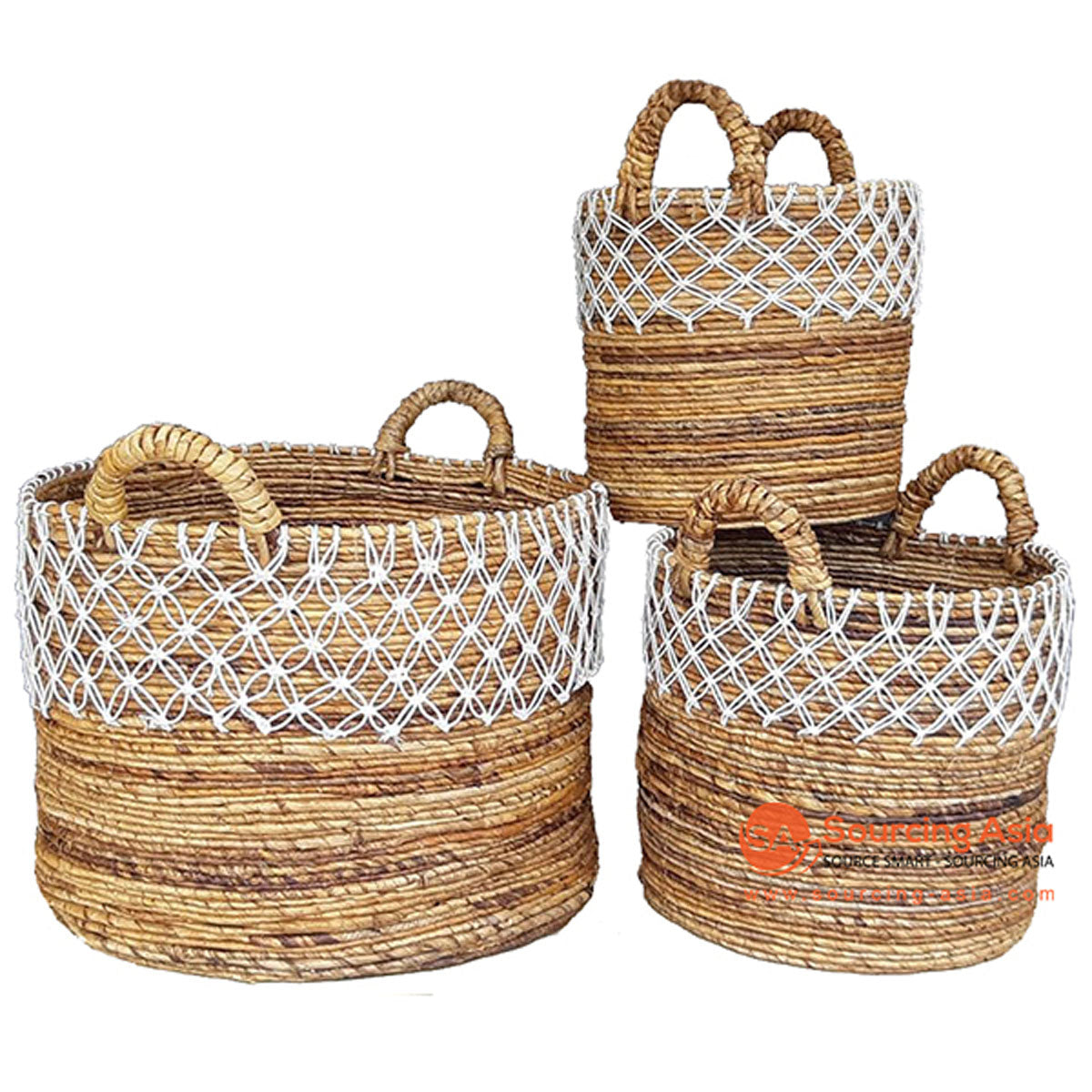 SHL057-12 SET OF THREE NATURAL BANANA FIBER BASKETS WITH MACRAME DETAIL