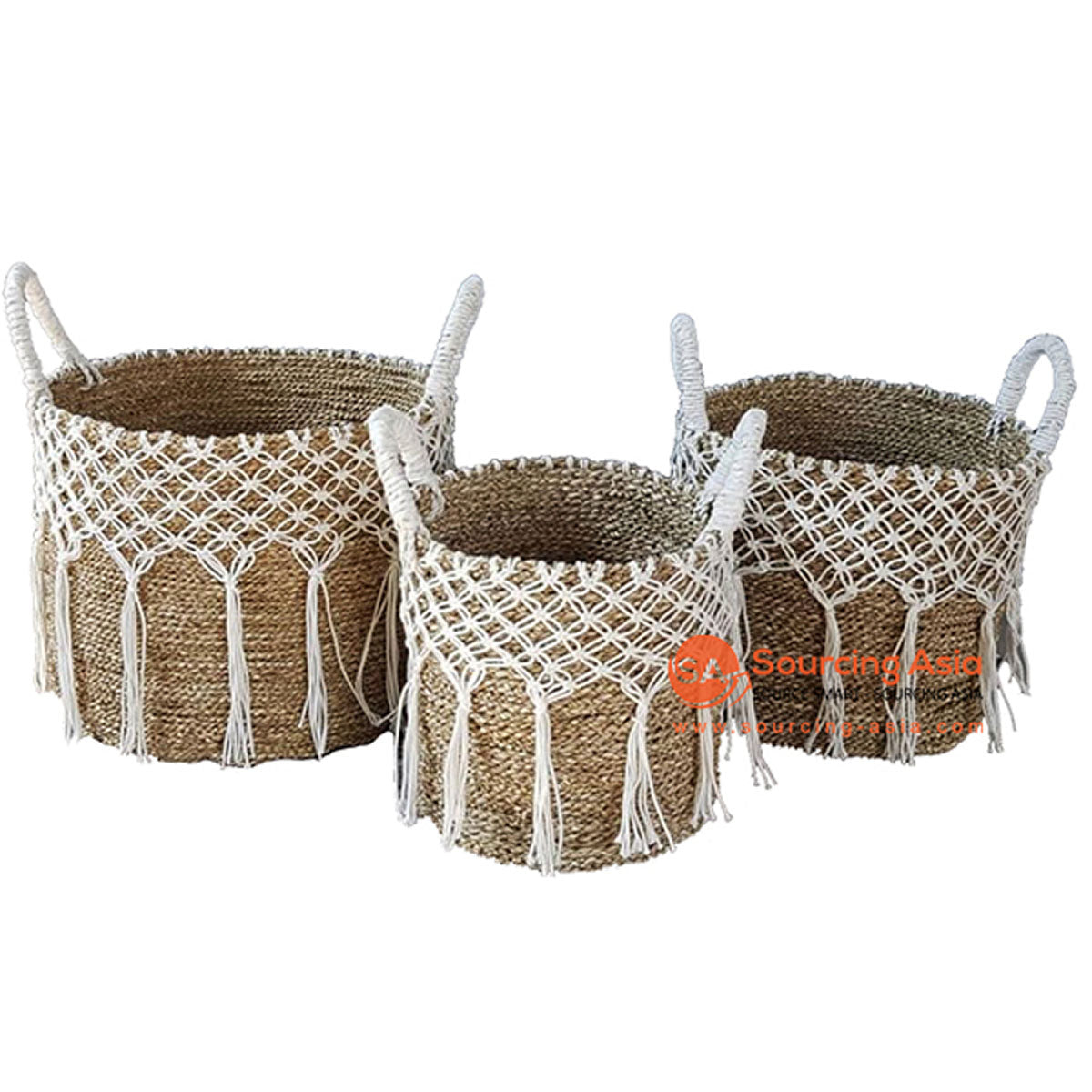 SHL057-13 SET OF THREE SEAGRASS BASKETS WITH MACRAME DETAIL