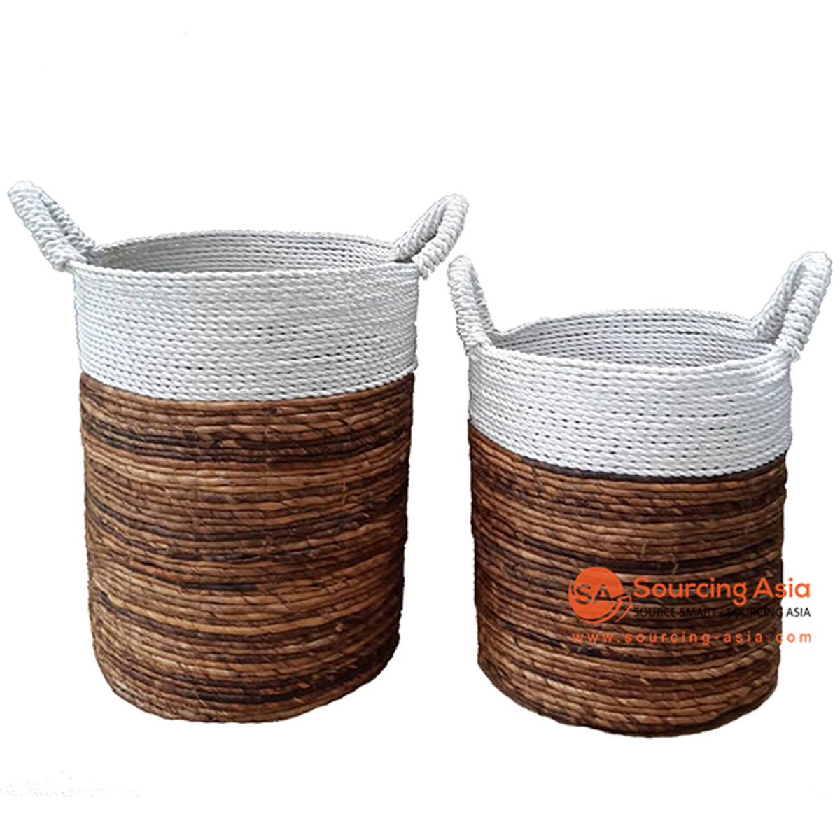 SHL057-14 SET OF TWO BANANA BASKETS WITH MACRAME DETAIL