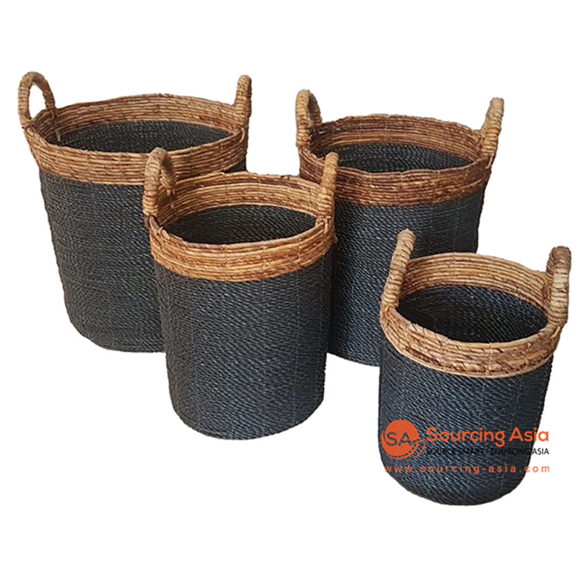 SHL057-16 SET OF FOUR SEAGRASS BASKETS WITH NATURAL BANANA