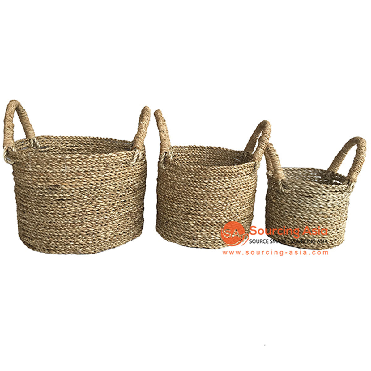 SHL057-2 SET OF THREE NATURAL SEAGRASS BASKETS WITH HANDLE