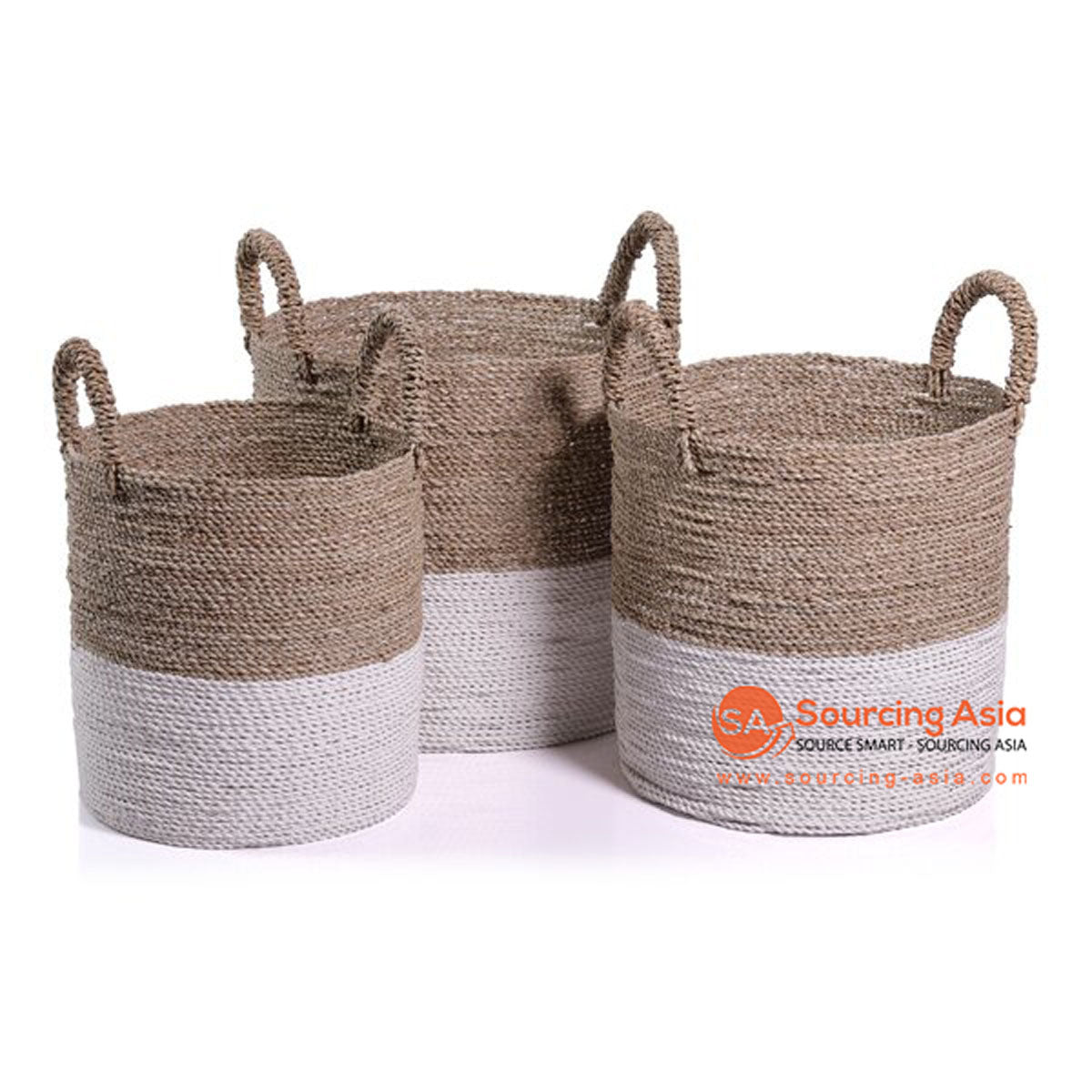 SHL057-8 SET OF THREE SEAGRASS BASKETS WITH HANDLE