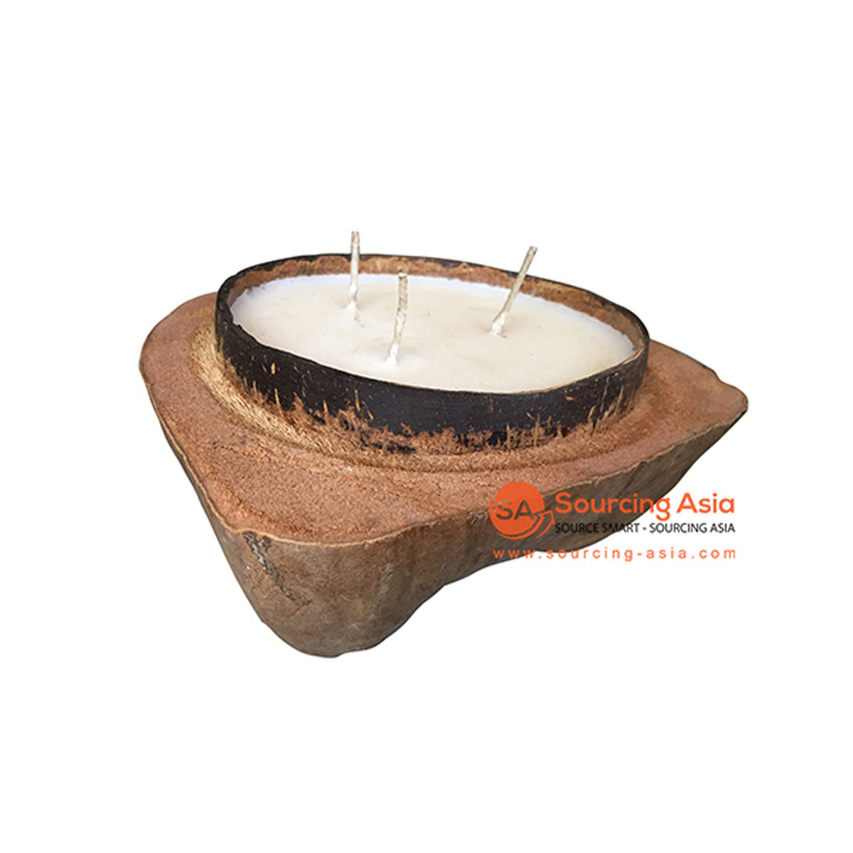 SHL060-5 NATURAL COCONUT CANDLE HOLDER WITH CANDLE