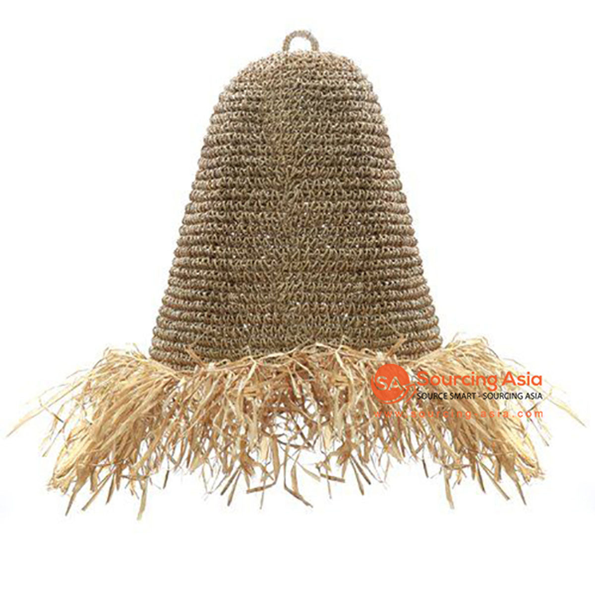 SHL063-1 NATURAL RAFFIA PENDANT LAMP WITH FRINGE