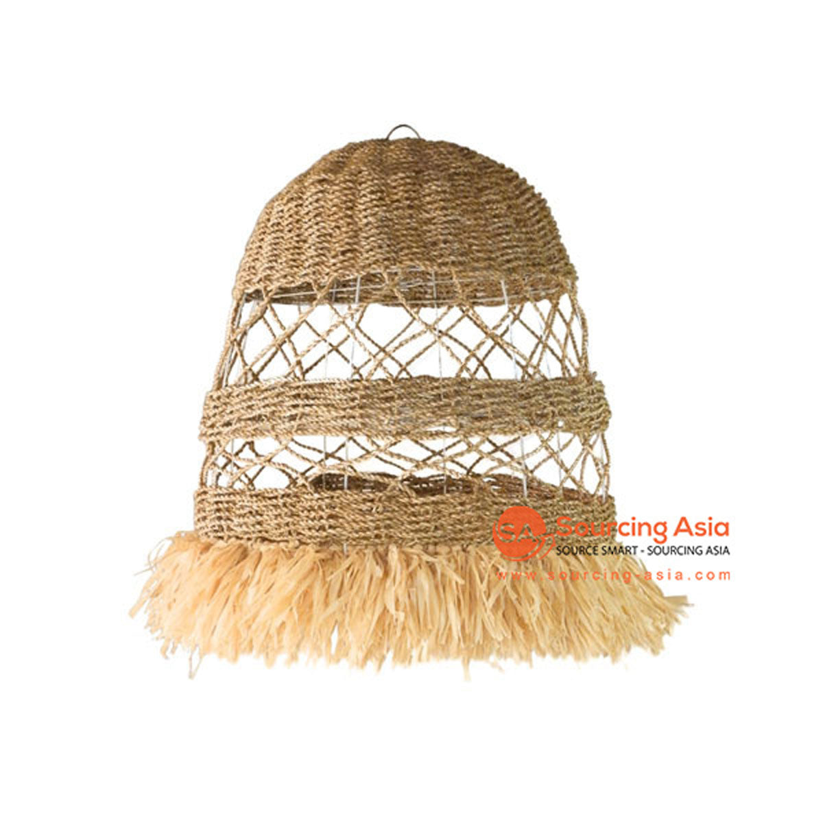 SHL063-9 NATURAL SEA GRASS PENDANT LAMP WITH FRINGE