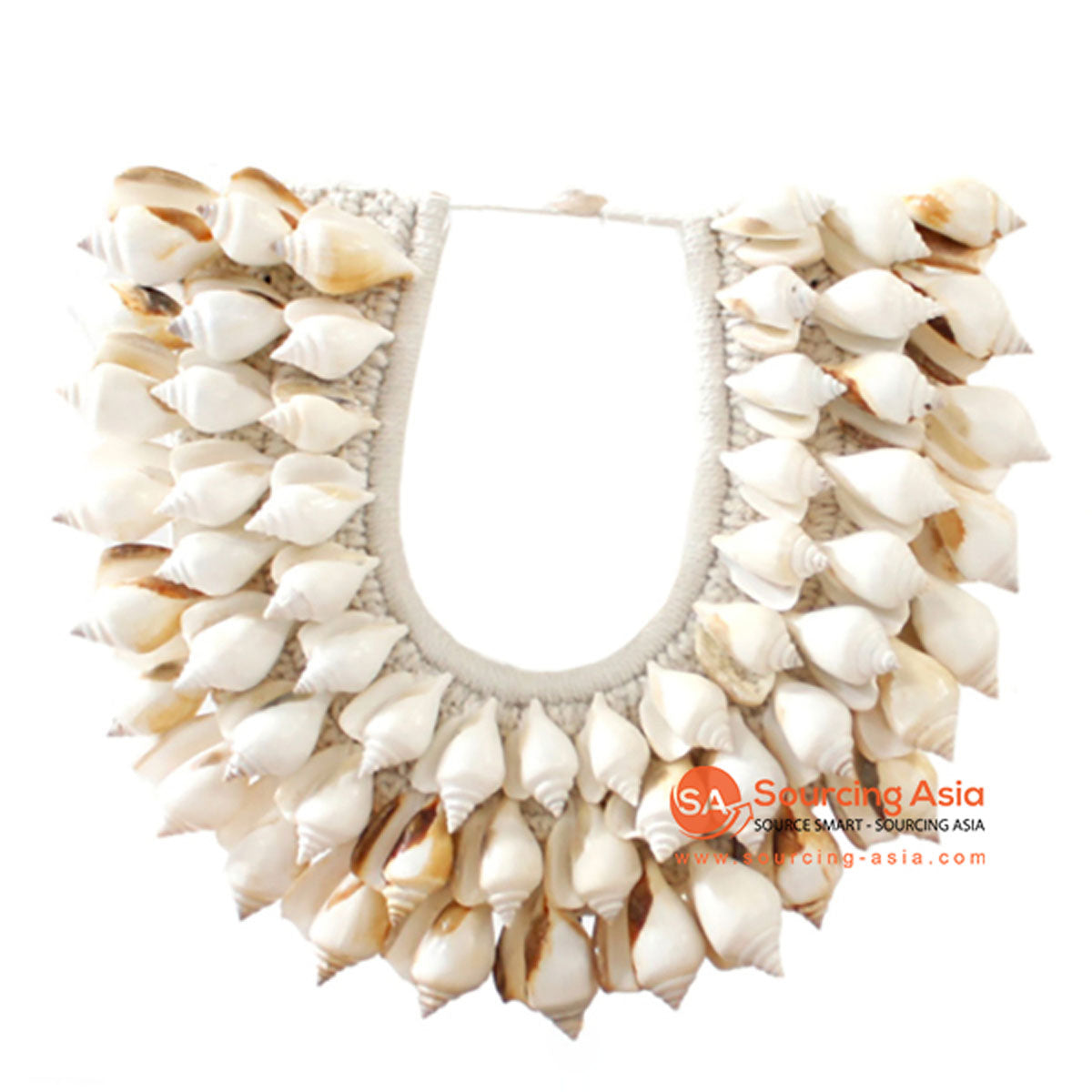 SHL068-10 WHITE SHELL NECKLACE HANGING WALL DECORATION
