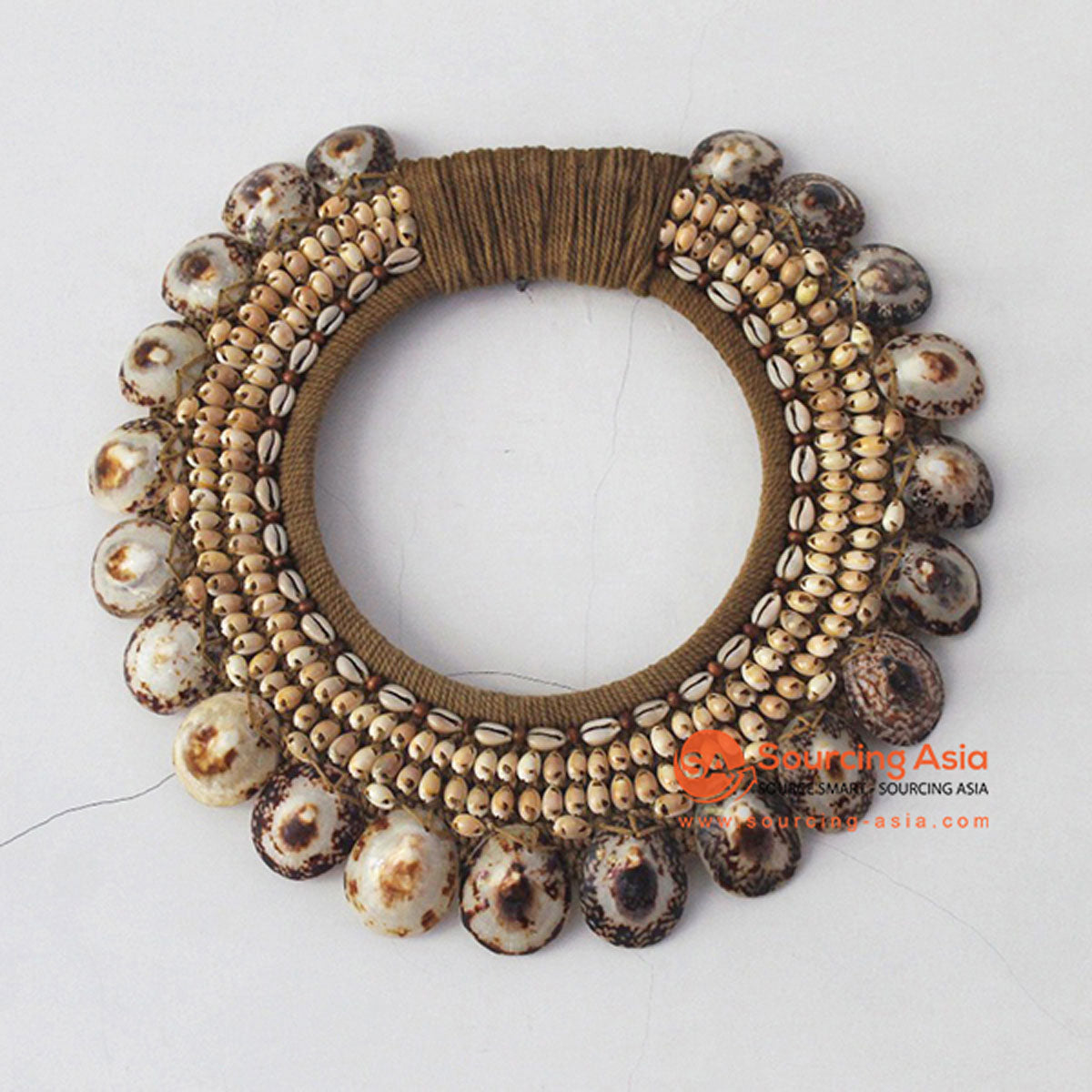 SHL068-12 ANTIQUE NATURAL SHELL ROUND HANGING WALL DECORATION