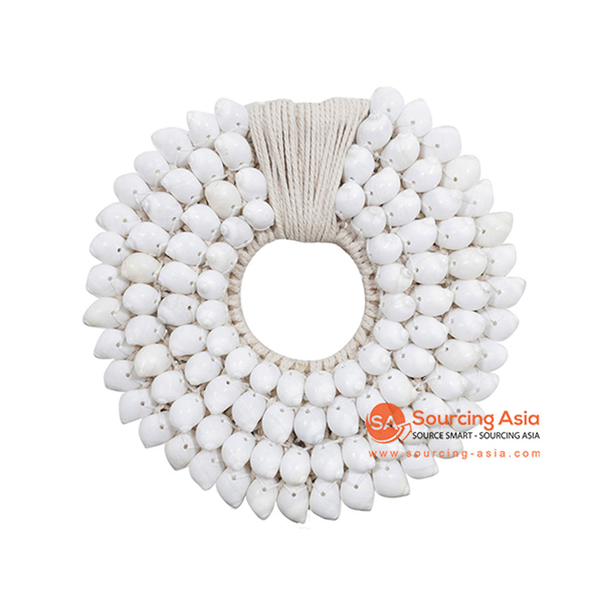 SHL068-8 WHITE SHELL ROUND HANGING WALL DECORATION