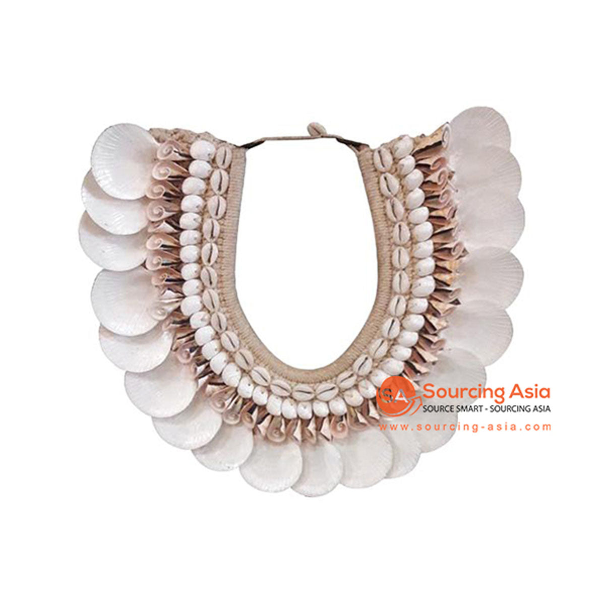SHL068-9 WHITE AND CREAM SHELL NECKLACE HANGING WALL DECORATION