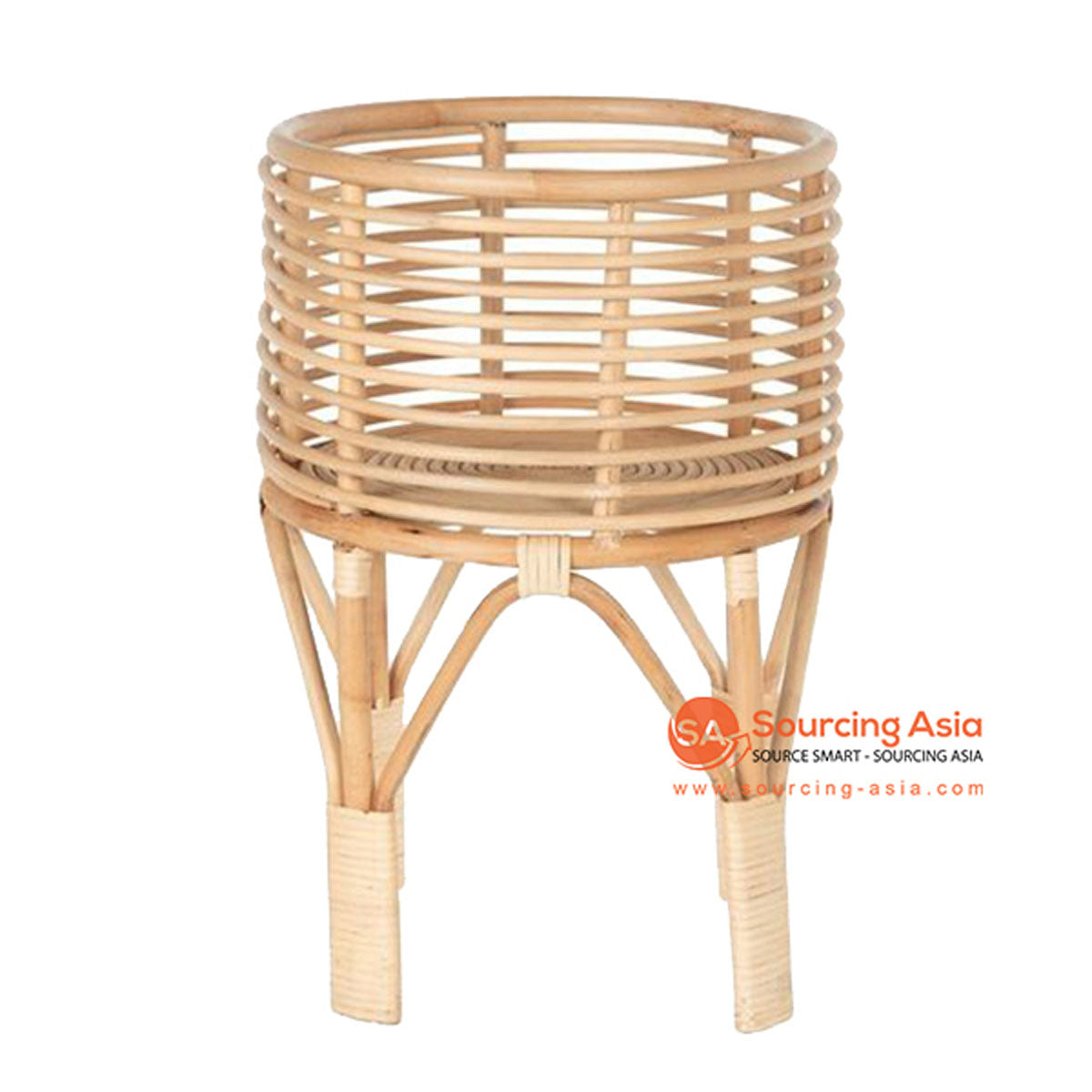 SHL087 NATURAL RATTAN ROUND PLANTER
