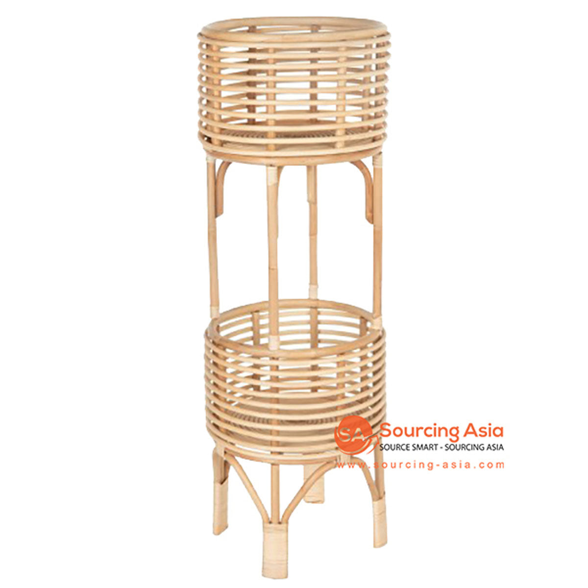 SHL089 NATURAL RATTAN ROUND DOUBLE PLANTERS