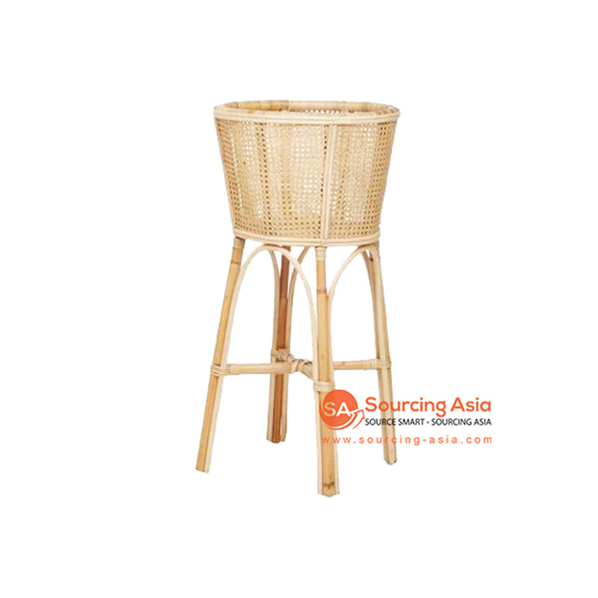 SHL093 NATURAL RATTAN ROUND PLANTER