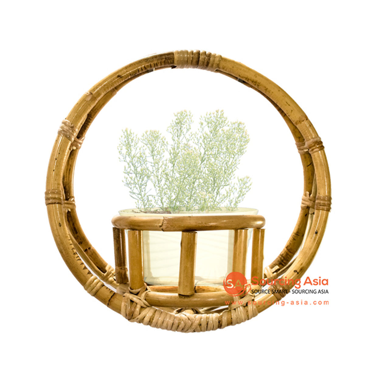 SHL094 NATURAL RATTAN ROUND PLANTER