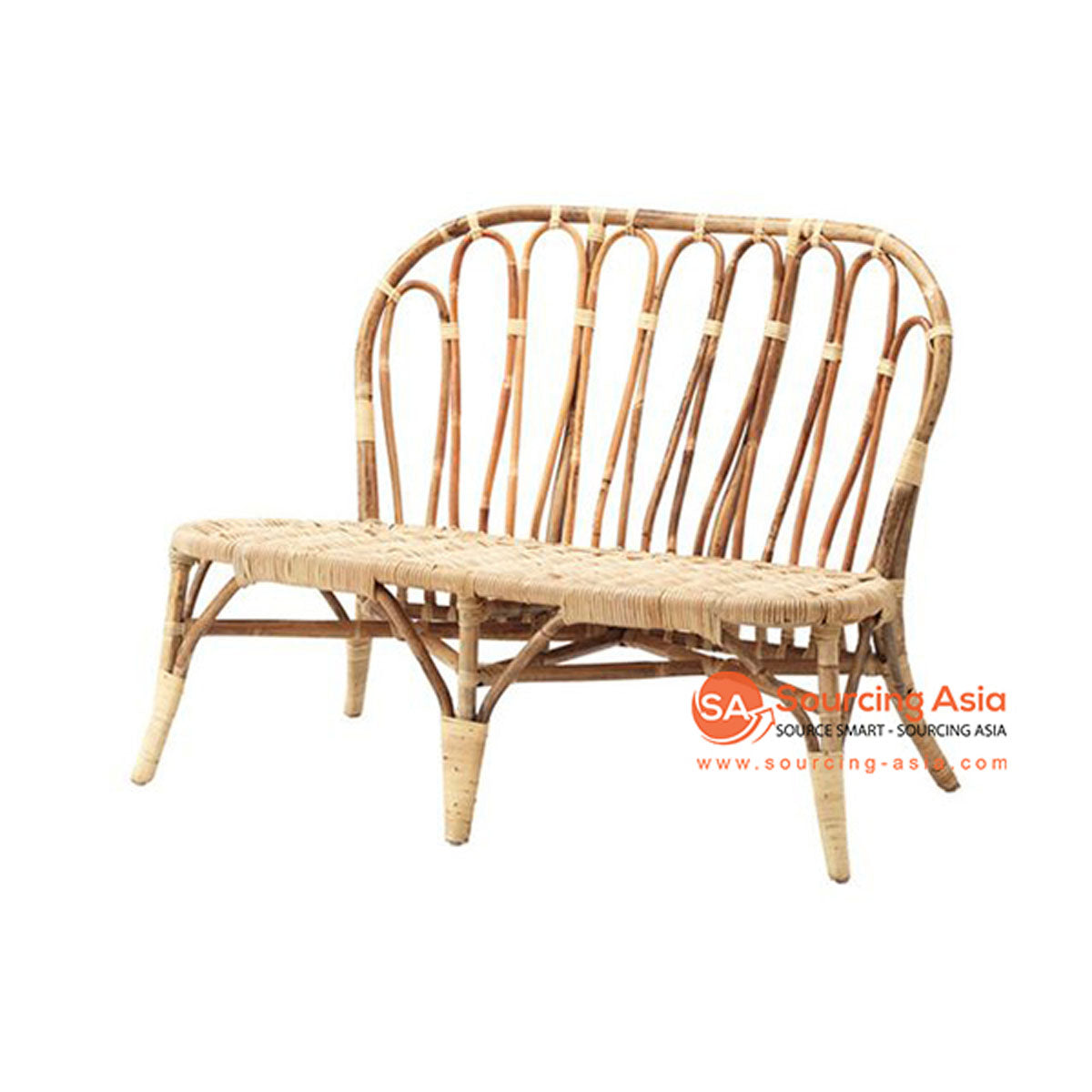 SHL118 NATURAL RATTAN UPHOLSTERED TWO SEATS CHAIR
