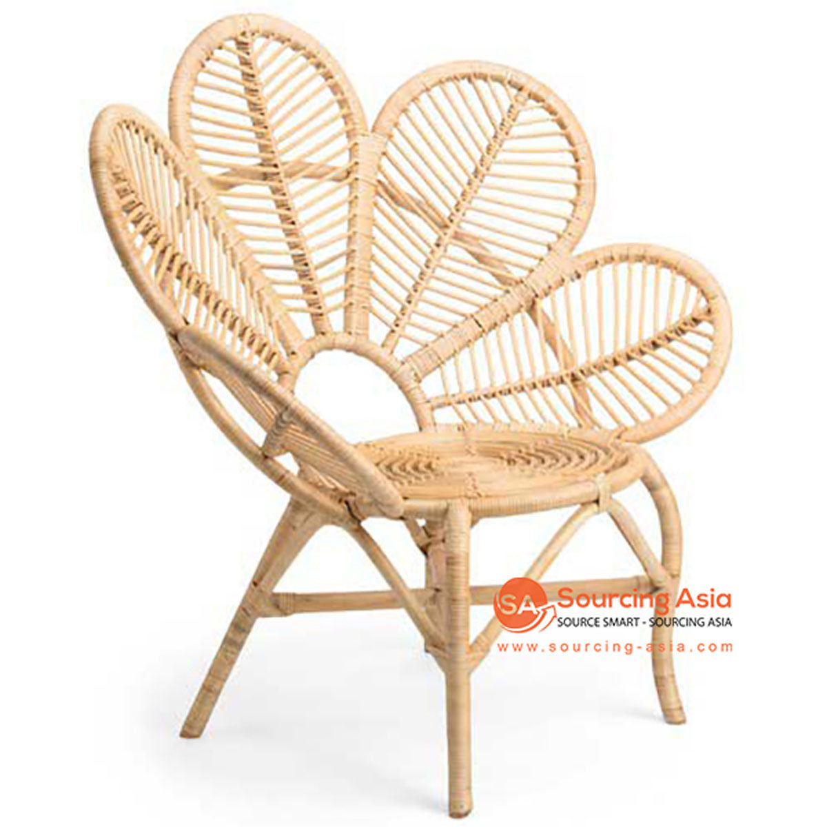 SHL119 NATURAL RATTAN PEACOCK DESIGN UPHOLSTERED CHAIR