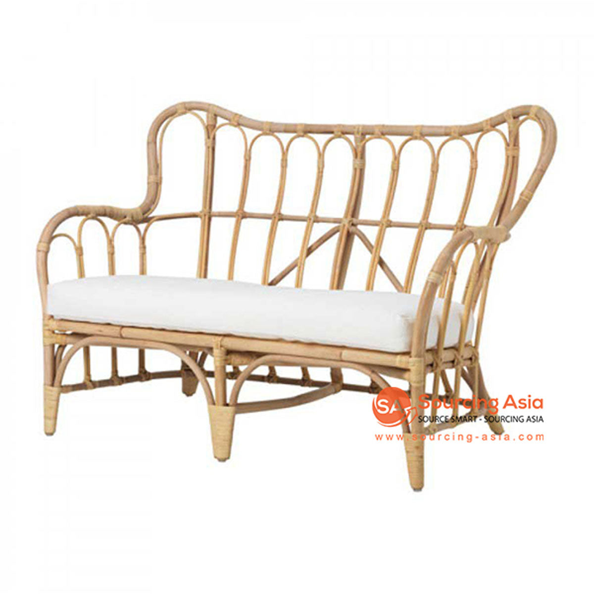 SHL122 NATURAL RATTAN UPHOLSTERED TWO SEATS CHAIR