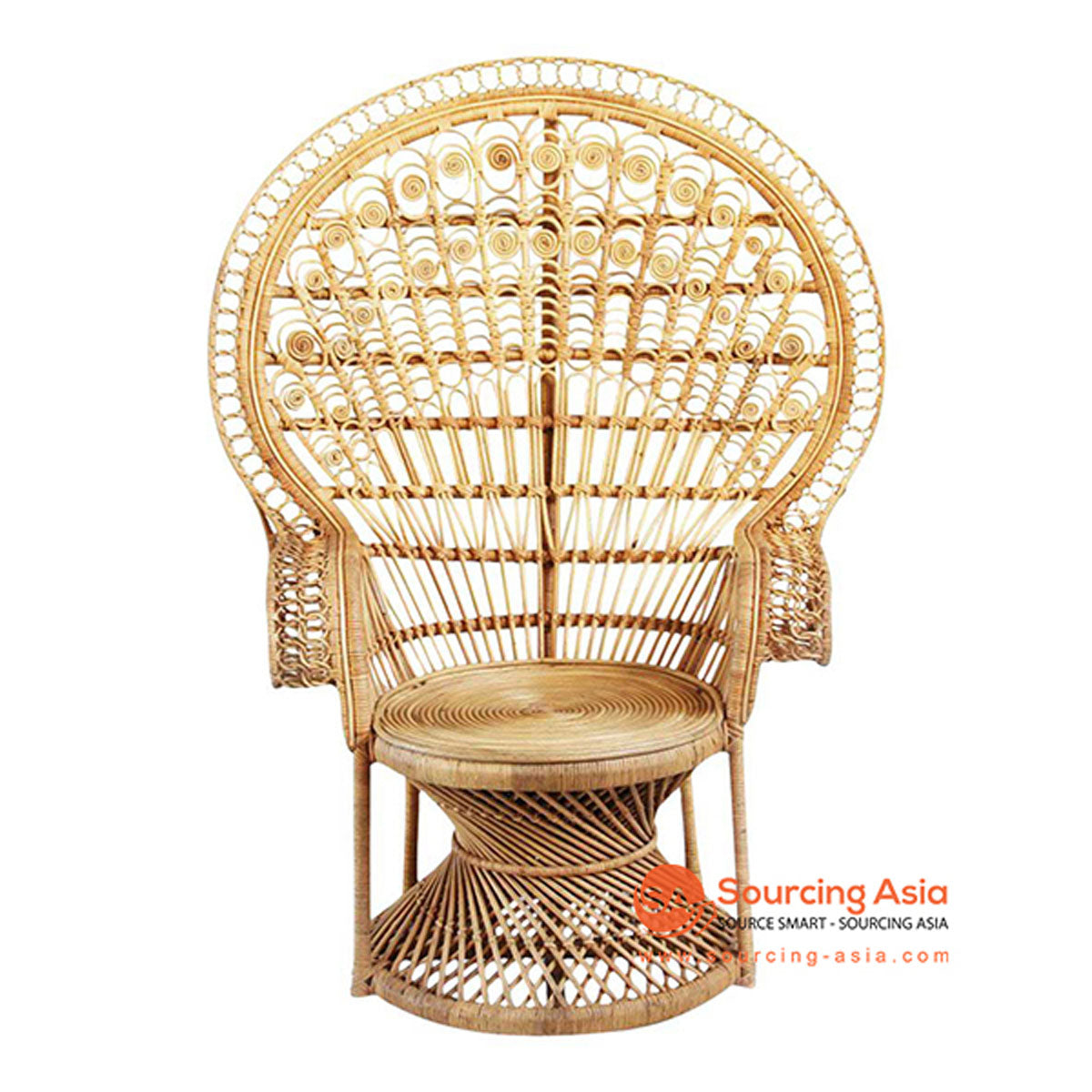 SHL127 NATURAL RATTAN DECORATIVE PEACOCK DESIGN UPHOLSTERED CHAIR