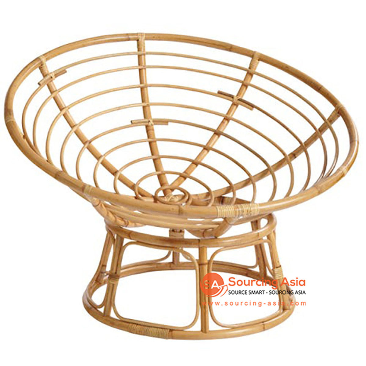 SHL132 NATURAL RATTAN ROUND DESIGN UPHOLSTERED CHAIR