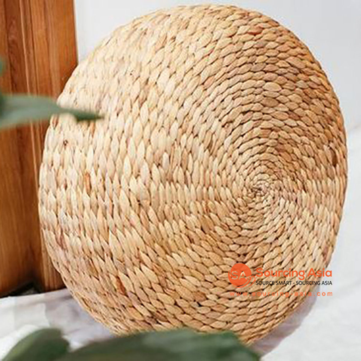 SHL136 NATURAL WATER HYACINTH POUFFES