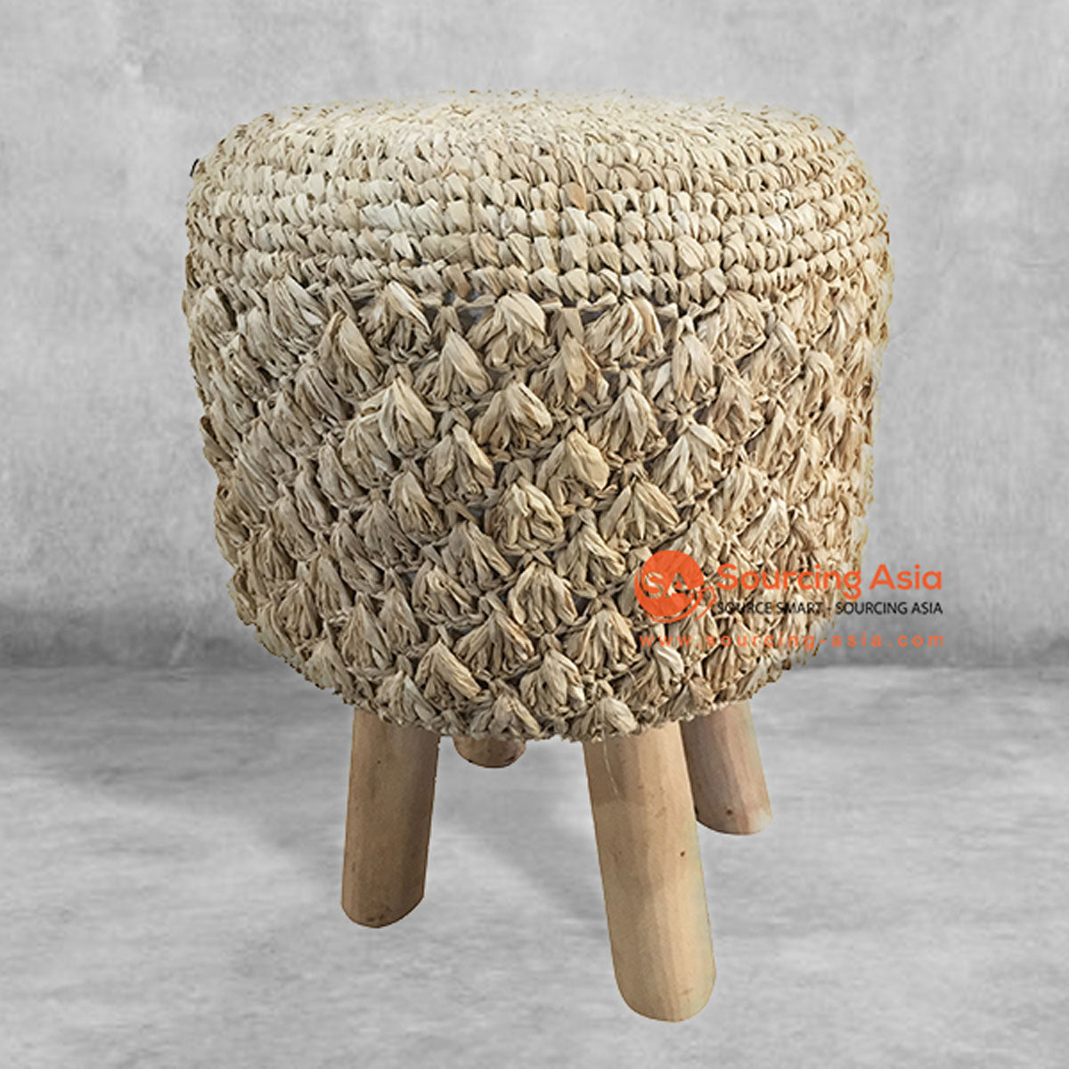 SHL141 NATURAL RAFFIA ROUND STOOL