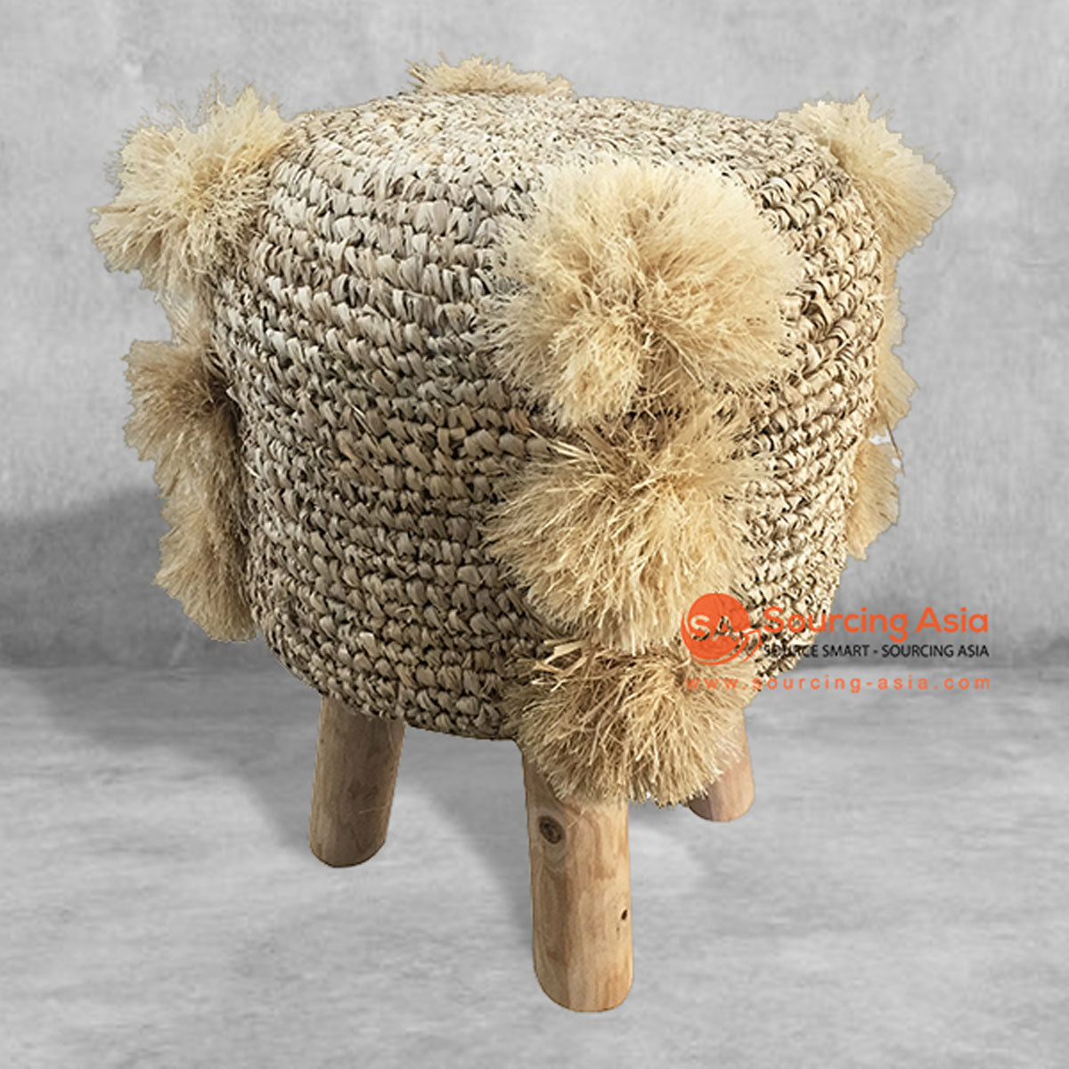 SHL142 NATURAL RAFFIA ROUND STOOL WITH POMS