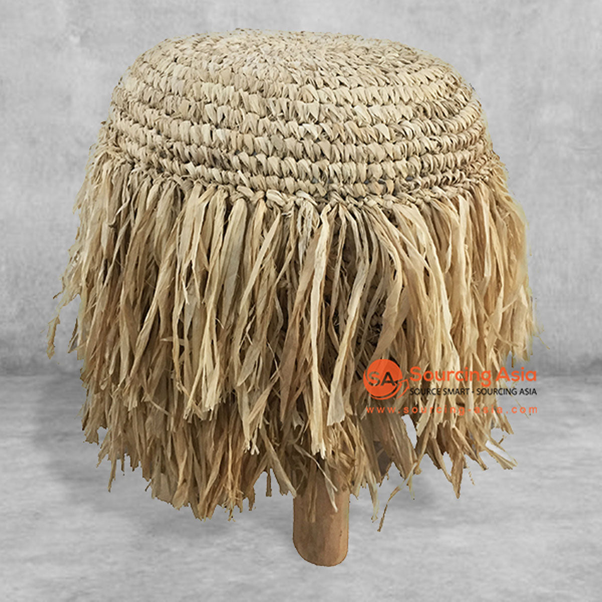 SHL143 NATURAL RAFFIA ROUND STOOL WITH FRINGE