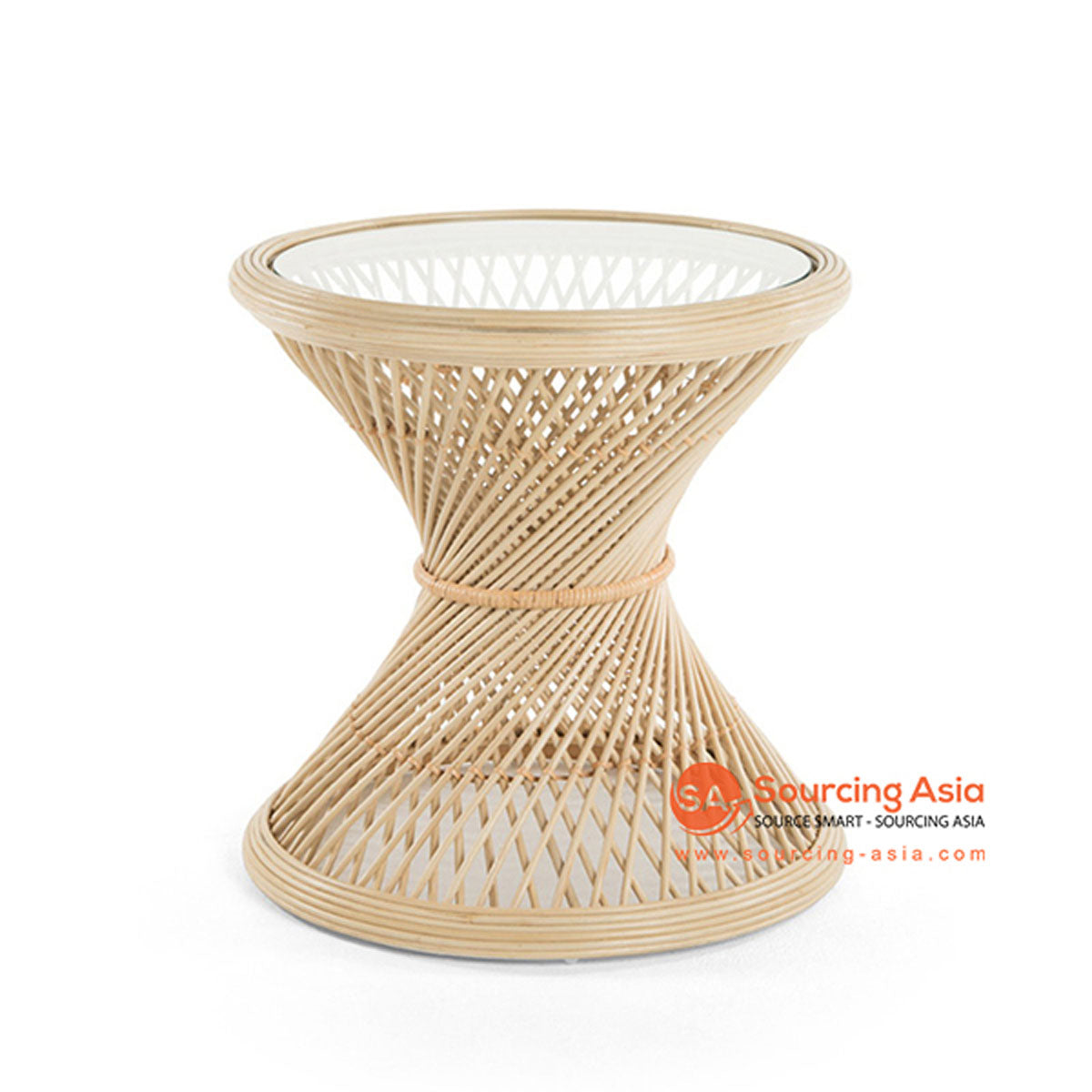 SHL149 NATURAL RATTAN TWISTED TABLE WITH ROUND TOP AND INSERTED GLASS