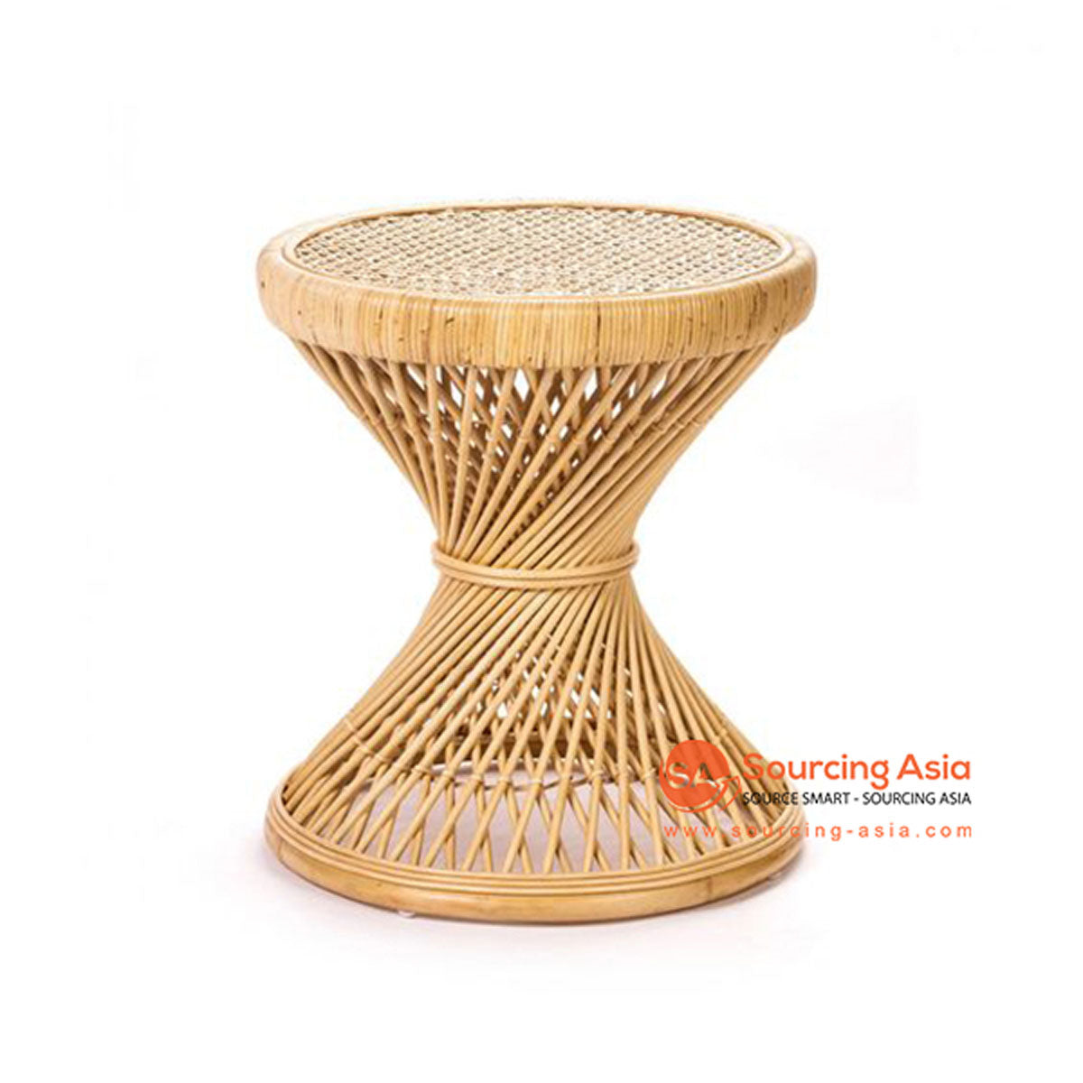 SHL150 NATURAL RATTAN TWISTED TABLE WITH ROUND TOP