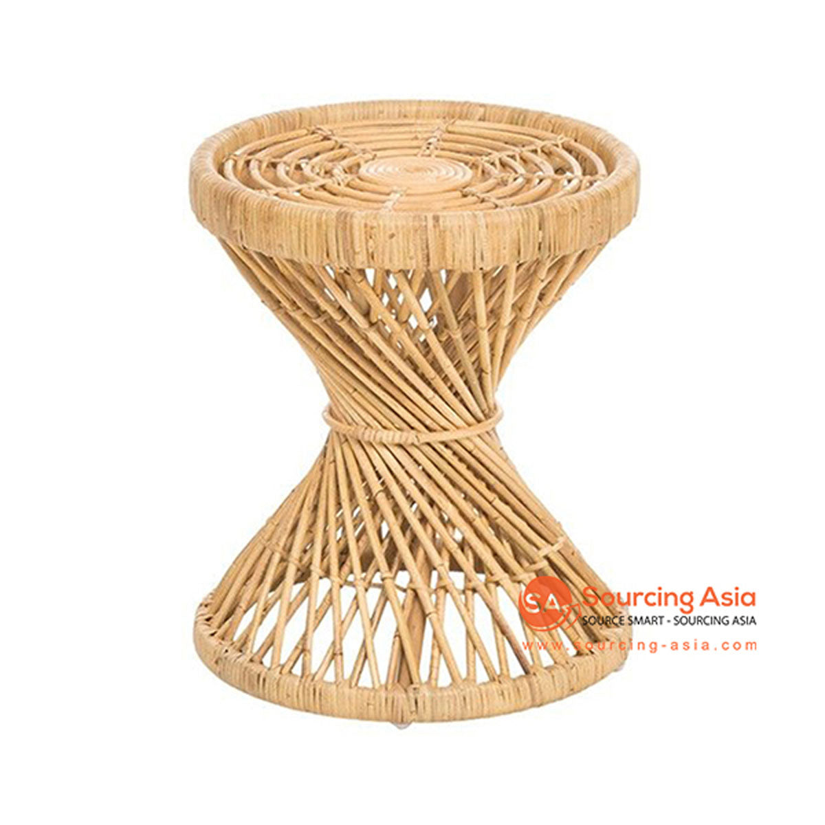 SHL155 NATURAL RATTAN TWISTED TABLE WITH ROUND TOP