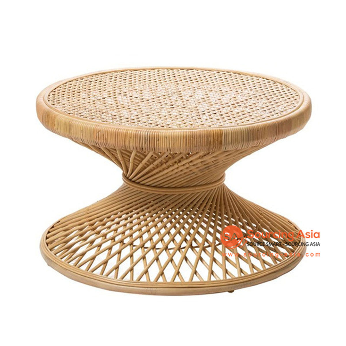 SHL156 NATURAL RATTAN LOW TWISTED TABLE WITH WIDE ROUND TOP