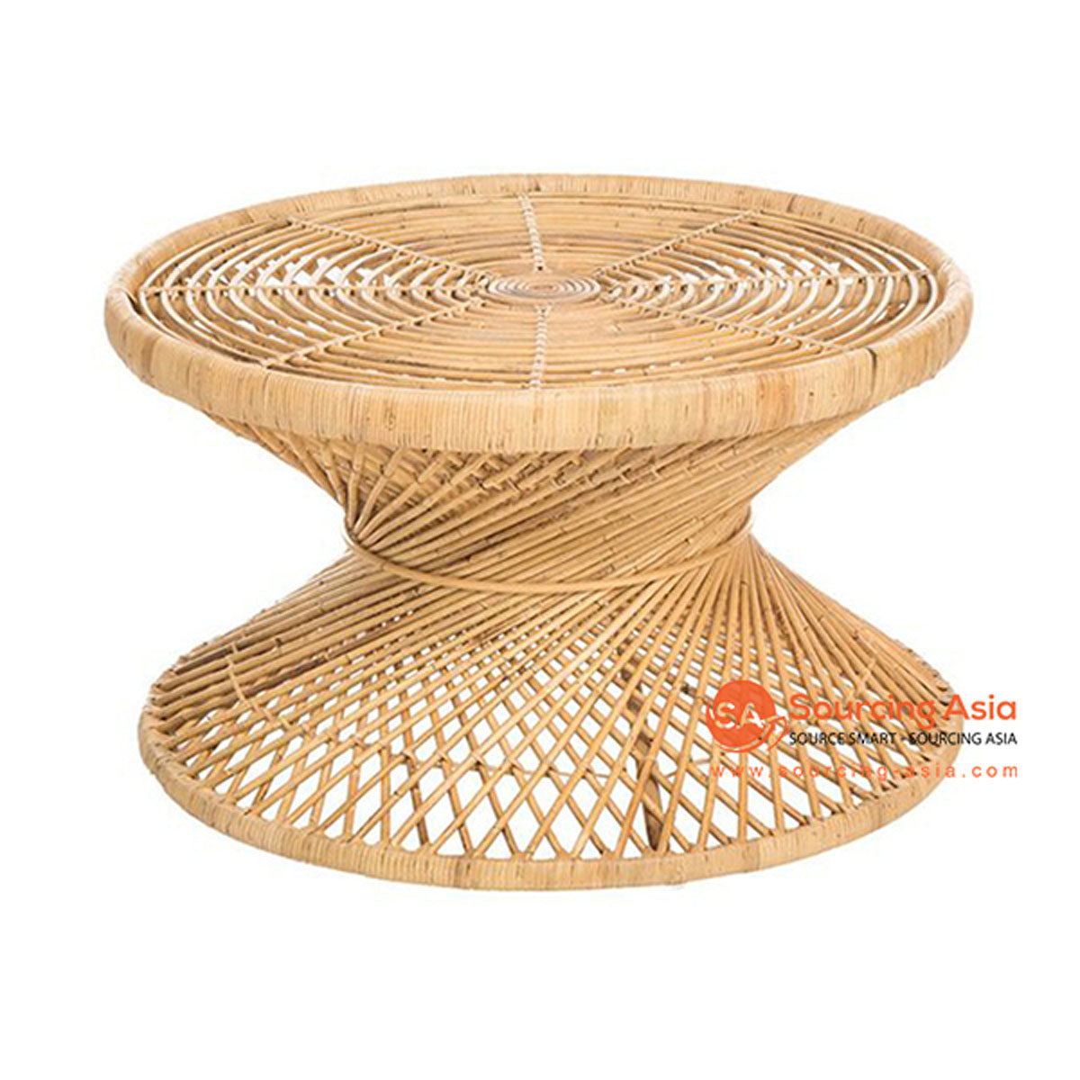 SHL157 NATURAL RATTAN LOW TWISTED TABLE WITH WIDE ROUND TOP