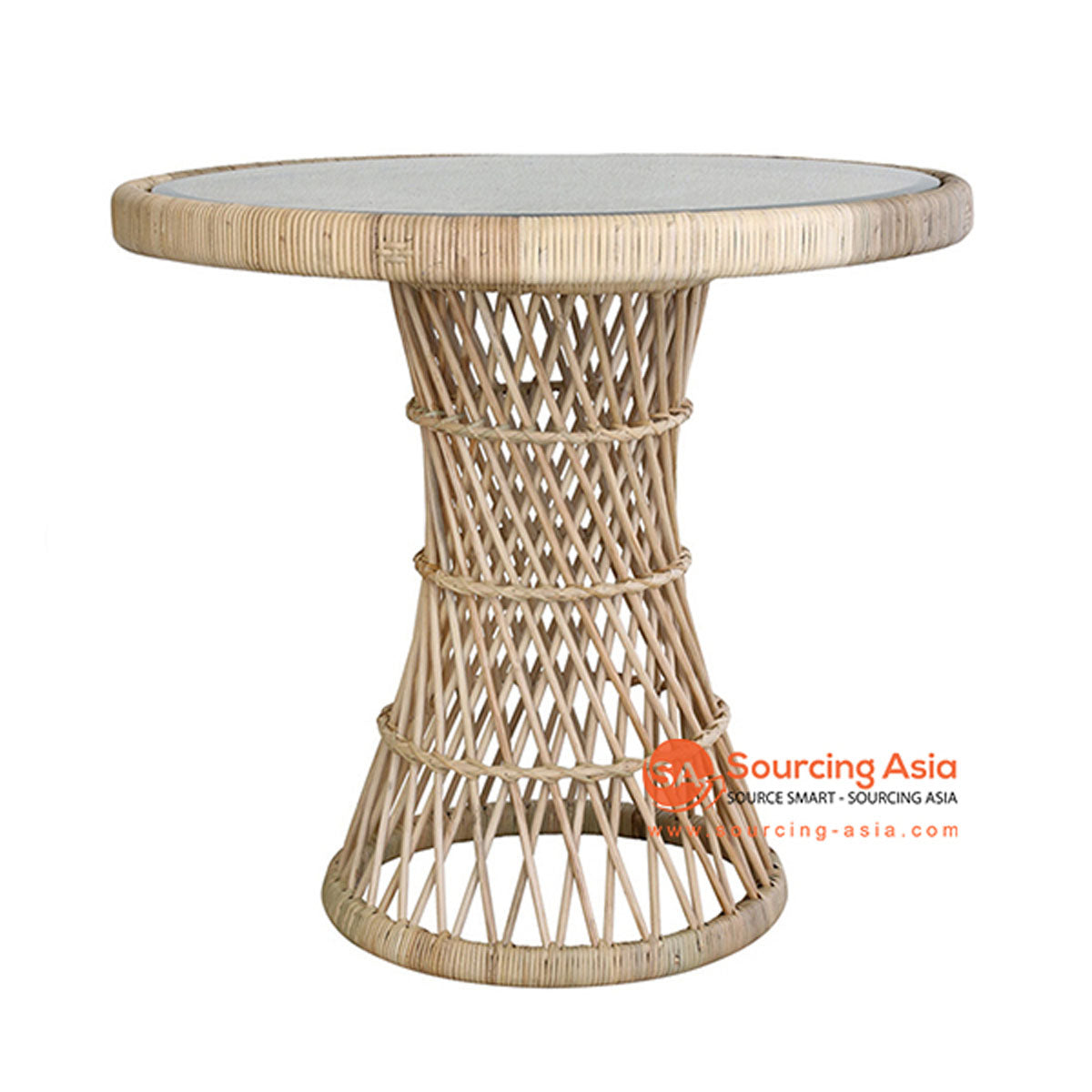 SHL158 NATURAL RATTAN TABLE WITH ROUND TOP AND INSERTED GLASS