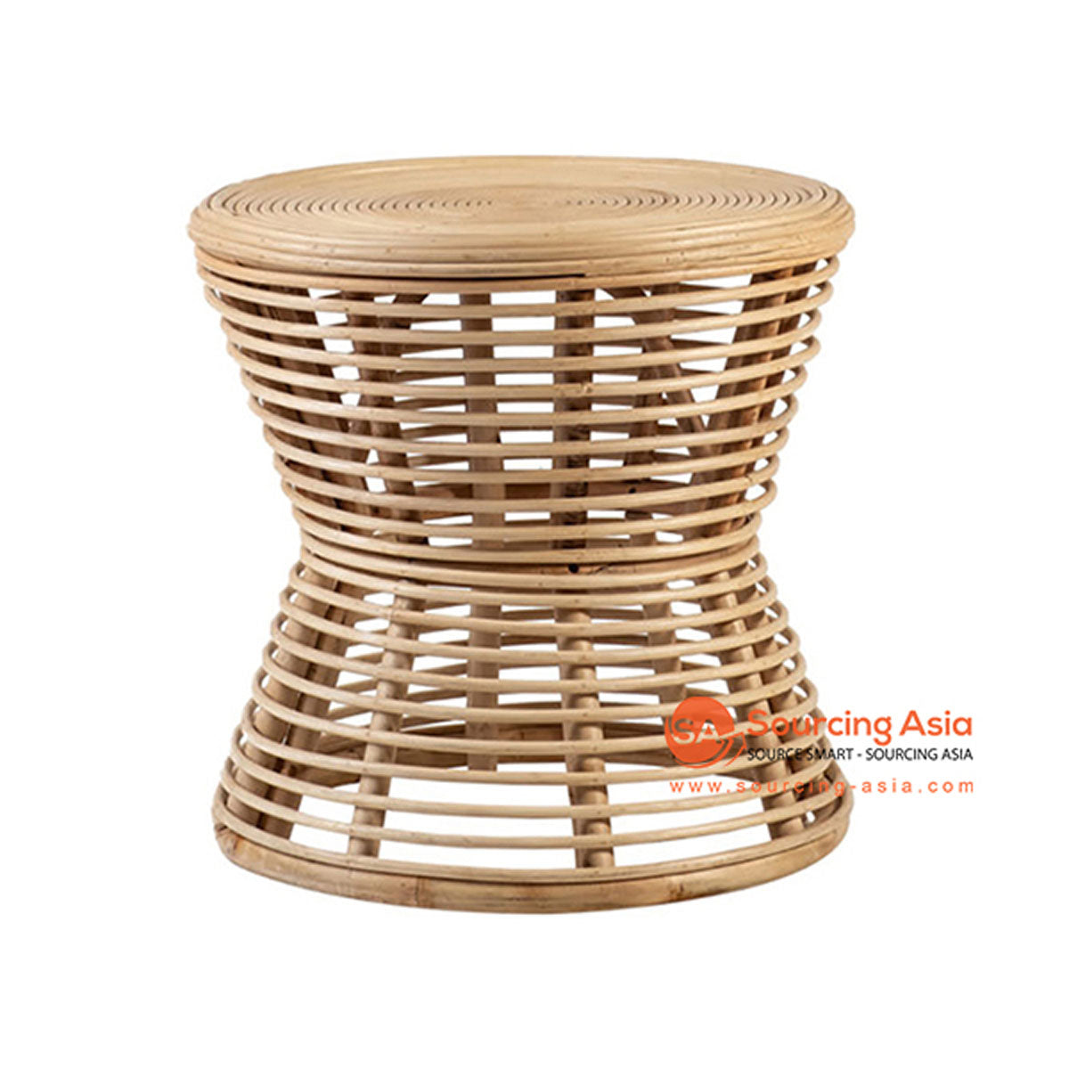 SHL159 NATURAL RATTAN LOW TABLE WITH ROUND TOP