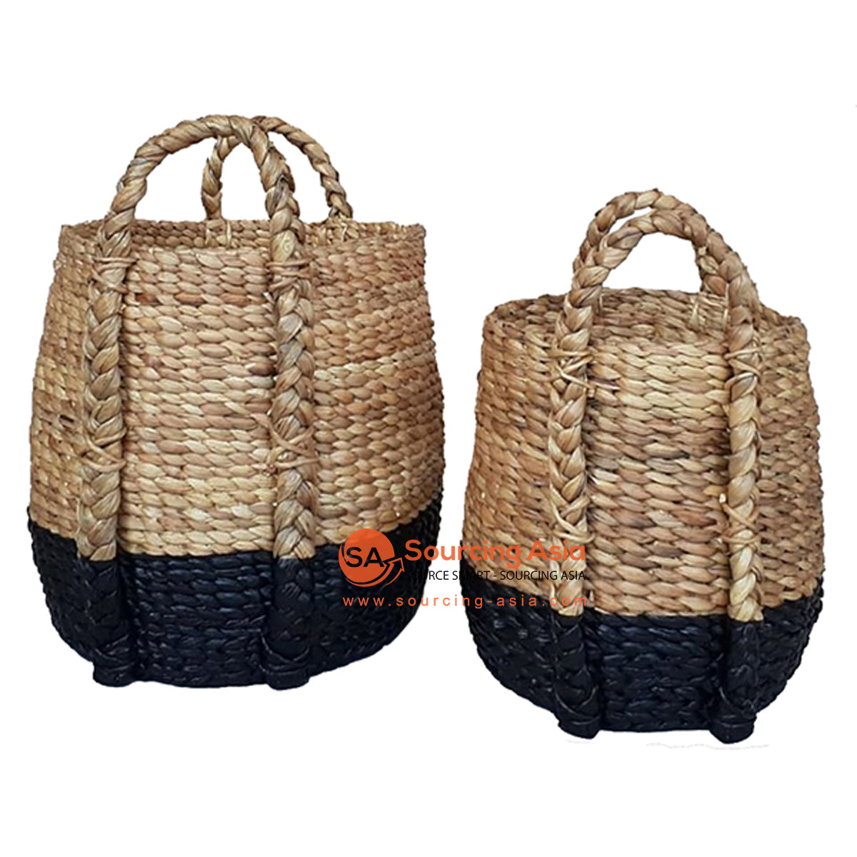 SHL168-1 SET OF TWO BROWN AND BLACK WATER HYACINTH BASKETS